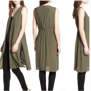 Trouve green sleeveless vest open jacket